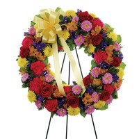 Multi-color standing sympathy wreath of flowers from Ingallina's Gifts